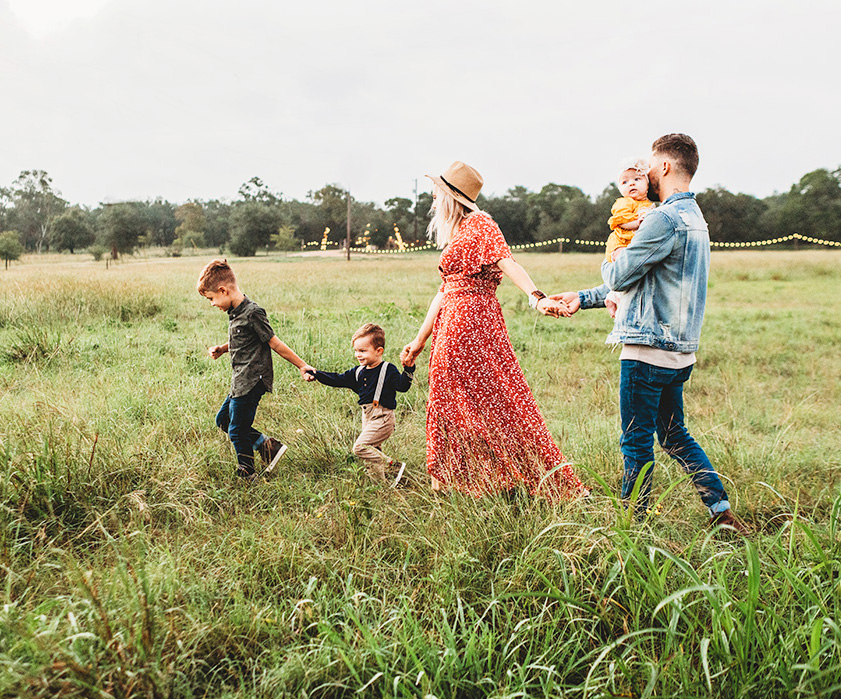 Family walking in the country side